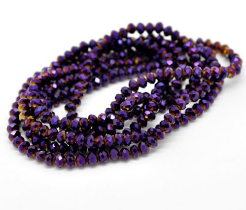 100 Dark Purple AB Color Crystal Glass Faceted Rondelle Beads 6mm